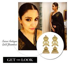 Get the Look:  Anushka Sharma  -  Antique Gold Jhumkas by rajjewels on Polyvore