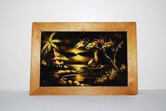 Vintage Painting Tropical Scene on Black by CheekyVintageCloset