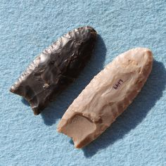 Two of my favorite Wyoming Clovis projectile points, one made from chalcedony and the other made from Spanish Diggings quartzite, one surface recovered on private land in Natrona County and one surface recovered on private land in Converse County. Age is somewhere between 13,500 to 11,000 years old. For scale, longest point is 3.2 inches long. John Branney Collection.