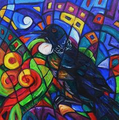 Inspired by a native tui that hangs round my garden singing a wide array of melodious tunes. New Zealand Art, Kiwiana, Fine Art America, Wall Art, Artist, Artwork, Painting, Color, Design
