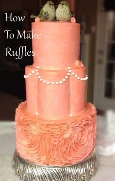 Coral Ruffle Wedding Cake | Little Delights Cakes (How to make a ruffle cake)