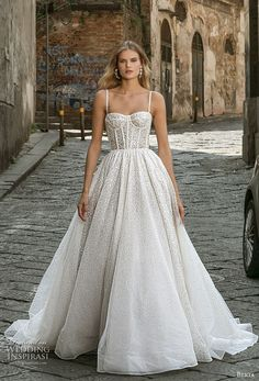 Sparkly Princess Ball Gown Wedding Dress Berta Wedding Dresses Fall 2020 - Napoli Bridal Collection - Belle The Magazine Bodice Wedding Dress, Wedding Dresses With Straps, Wedding Dress Trends, Modest Wedding Dresses, Bridal Dresses, Wedding Corset, Bridal Corset, Sparkly Dresses, Corset Dresses