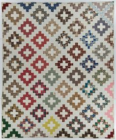 Chimney Sweep pattern made in Delaware County, NY, 1846-1849. (IQSCM 1997.007.0927) #quilt #NewYork #signature #IQSCM #JamesCollection