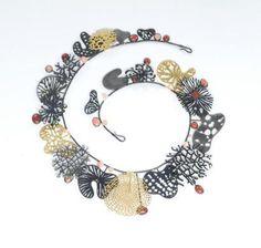 Suzan Rezac. Jewelry. Necklace. Coral, oxidized silver, gold leaf