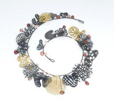 Suzan Rezac. Jewelry. Necklace. Coral, oxidized silver, gold leaf