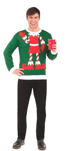Elf  Christmas Sweater Unisex  Elf Green and Red  Free Elf Hat #Forum #Pullover