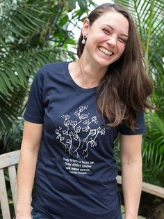 Get ready for fall with screen-printed tees that feature inspiring messages. Fair Trade Fashion, This Is Us Quotes, Planting Seeds, T Shirts With Sayings, Printed Tees, Organic Cotton, Cotton Fabric, Bury, Mens Tops