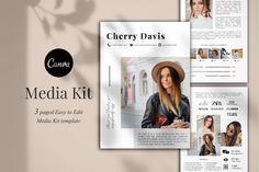 Media Kit Template, 3 Pages, Canva Business Ideas For Beginners, Media Kit Template, Press Kit, Logo Background, Journal Cards, School Design, Branding Design, Templates, Instagram Posts