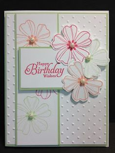 Stampin Up Projects Flower Shop Birthday Card Stampin Up Rubber Stamping Handmade Cards Birthday Cards For Women, Handmade Birthday Cards, Card Birthday, Flower Birthday, Birthday Cards With Flowers, Women Birthday, Diy Birthday, Making Greeting Cards, Greeting Cards Handmade