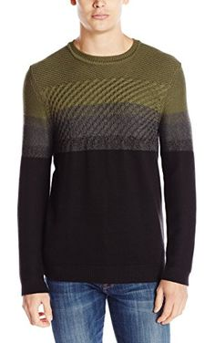 Calvin Klein Jeans Men's Cable Color Block Sweater, Army Green, XX-Large ❤ Calvin Klein Jeans Men's Collection