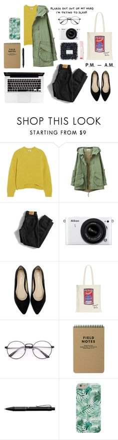 """study at school"" by beigev ❤ liked on Polyvore featuring Acne Studios, Levi's, Nikon, Harrods and Fisher Space Pen"