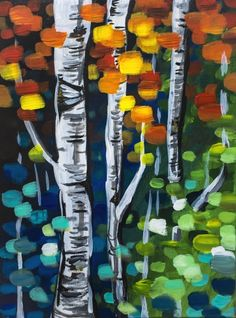 The Effervescence of Autumn at Boston Pizza - West Hamilton - Paint Nite Events Easy Canvas Painting, Spring Painting, Canvas Art, Painting Tips, Gouache, Watercolor Paintings, Original Paintings, Fall Art Projects, Art Party
