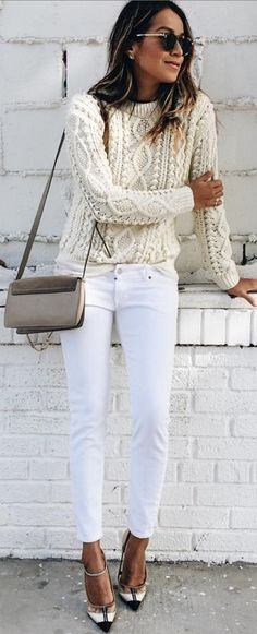 #sincerelyjules #spring #summer #besties | Cream Cable Knit + White Denim