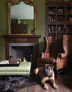 Modern English Country Decor Ideas For Living Room - Zigarren Lounges, English Country Style, Home Libraries, Man Room, Green Rooms, Old World, Family Room, House Design, Design Design