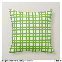 Lime green and white grid throw pillow Green Cushions, Teal And Pink, Big Girl Rooms, Decorative Cushions, Custom Pillows, Grid, Lime, Throw Pillows, Fabric