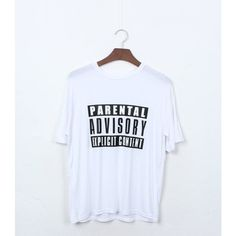 Parental Advisory T-shirt ($40) ❤ liked on Polyvore featuring tops, t-shirts, shirts, tees, grey, grey shirt, grey t shirt, gray t shirt, gray shirt and cotton t shirts