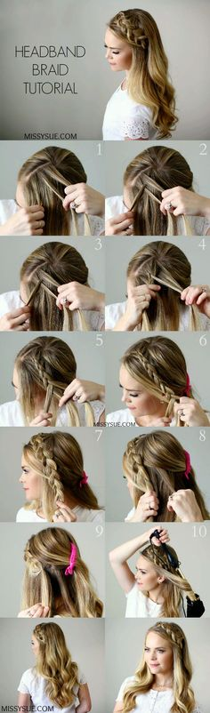 Headband Braid – Style Like Pro – Tutorial Per Capelli Pretty Hairstyles, Easy Hairstyles, Girl Hairstyles, Wedding Hairstyles, Step Hairstyle, Hairstyle Tutorials, Holiday Hairstyles, Headband Hairstyles, Hairstyle Ideas