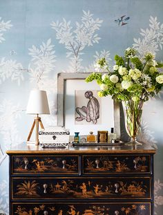 Mark D. Sikes bedroom dresser with blue wallpaper via @thouswellblog