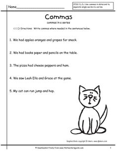 Linear Commas In A Series Worksheet -You are able to work with every worksheet individually, or you might work with numerous worksheets at precisely the same moment. A worksheet uses a part of the accessible cells. Each worksheet includes 16384 . Math Coloring Worksheets, 2nd Grade Worksheets, Writing Worksheets, 8th Grade Ela, Second Grade, Grade 2, Commas In A Series, Teaching Punctuation, Writing Prompts For Kids
