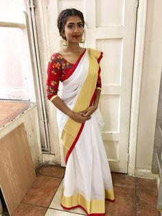 The Various Looks That Keep Killing People With Elegance And Boldness - Frisuren Hochzeitsgast Colorful Fashion, Cute Fashion, Indian Dresses, Indian Outfits, Vithya Hair And Makeup, Kerala Saree Blouse Designs, Set Saree, Simple Sarees, Saree Photoshoot