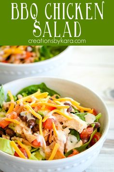 BBQ Chicken Salad recipe - one of the best salads ever! Makes a flavorful and healthy dinner or lunch! #bbqchickensalad #barbequechickensalad #panerabbqchickensalad -from creationsbykara.com Brunch Recipes, Dinner Recipes, Chef Recipes, Family Recipes, Panera Bbq Chicken Salad, Best Salads Ever, Salad Dressing Recipes, Turkey Recipes, Food Dishes