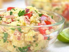 thon, couscous, tomate, concombre, poivron, coriandre, persil, menthe, oignon nouveau, citron, citron vert, huile d'olive, poivre,...