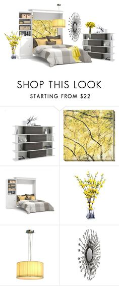 """Yellow Spring bedroom"" by mlkdmr ❤ liked on Polyvore featuring interior, interiors, interior design, home, home decor, interior decorating, Home Decorators Collection, Bestar, Nearly Natural and bedroom"
