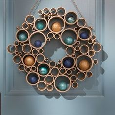 PVC pipe wreath.  Can fill with different items for different occasions or seasons.
