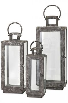 Ella Metal Lanterns - Set of 3 - Lanterns - Metal Lanterns - Candleholders | HomeDecorators.com
