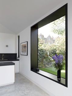 exposureyorkshire loves this kitchen picture window! add a seat or some cushions and it suddenly has a function. It makes a great reading window with views to the great outdoors. Big Windows, Windows And Doors, Steel Windows, Black Windows, House Extensions, Kitchen Extensions, Kitchen Pictures, Kitchen Ideas, Black Walls
