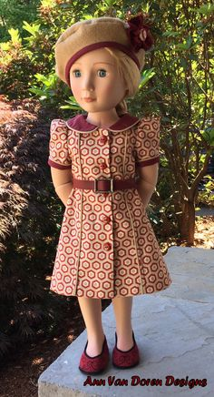 Retro Style Doll Dress and Beret for Slim 16 by AnnVanDorenDesigns