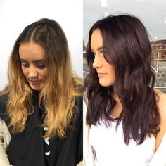 Before and after hair color transformation. Before and after brown hair. From blonde hair color to chocolate brown hair color. Chocolate brown hair color
