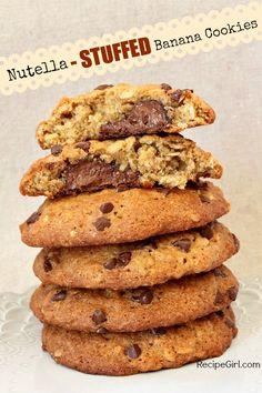 Nutella- Stuffed Banana Cookies #recipe