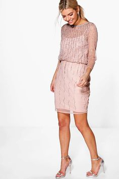 6215131c305745 Boohoo Boutique Marlena Beaded Batwing Dress. Jurken Voor WerkZwarte ...