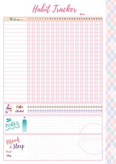 Habit Tracker, Routine Tracker Printable Template, Self Care Wellness Planner This Routine and Habit Tracker helps you keep track of your daily routine and habits, from the consumption of coffee and alcohol each day. Planner Pages, Life Planner, Weekly Planner, Bullet Journal Ideas Pages, Bullet Journal Inspiration, Planner Template, Printable Planner, Journal Template, Routine Planner