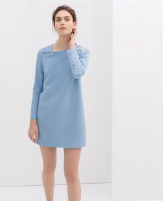 Love this! So fresh/LONG SLEEVE DRESS WITH BUTTONS from Zara