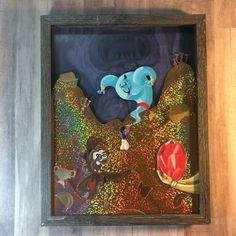Holographic Paper, Aladdin Lamp, Disney Art, Shadow Box, Character Design, Paper Crafts, Fan Art, Illustration, Frame