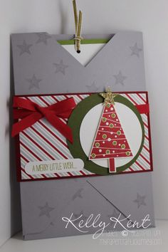 Christmas in July - Envelope Punch Board Card using Festival of Trees bundle.  Kelly Kent - mypapercraftjourney.com.