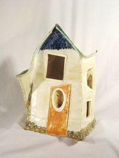 """farmhouse"" by Dayna Lyn (artist) ceramic Stone Pillars, Contemporary Sculpture, Ceramic Painting, New Artists, Creative Words, Bird Feeders, Folk Art, Sculptures, Middle"