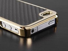 Pandamimi Carbon Fiber Style Metal Chrome Side Case Cover for Apple ATT Sprint Verizon iPhone 4S 4 4G Golden