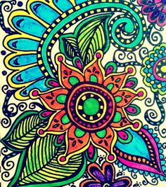 Flower Doodle - faded color  Art Print