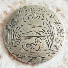 Large pictorial swan on the water love token ~ from A Genuine Find