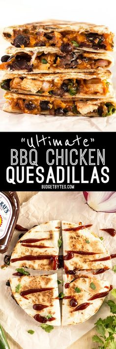 Nutritious Snack Tips For Equally Young Ones And Adults These Ultimate Bbq Chicken Quesadillas Are Packed With Colorful Ingredients And Deliciously Tangy Sweet Baby Ray's Bbq Sauce Budgetbytes Mexican Food Recipes, Dinner Recipes, Mexican Appetizers, Onigirazu, Chicken Quesadillas, Chicken Tacos, Quesadilla Sauce, Chicken Dips, Chicken Meals