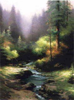 Creekside Trail - 1994 Redwoods guard the tranquility of a hidden bower where stream and trail and a grove of flaming bushes come together in perfect harmony. The setting sun is a masterful painter, touching leaf and water with a radiance that awakens unsuspected colors.   — Thomas Kinkade