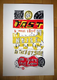 We like to go fast motorcycle cafe racer silkscreen by chriswatson