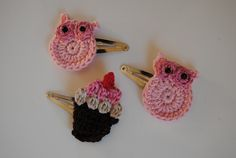 crochet owls hair accessories!  use without a clip and stick it on with girlie glue!  So darling!