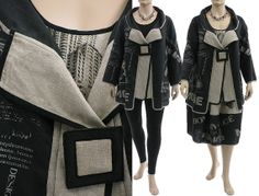 Handmade artsy boho linen jacket coat in black nature / lagenlook for plus sized women L XL, US size 14-18 / with amazing handmade print on Etsy, $255.00