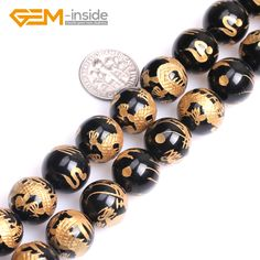 """10mm-14mm Round Carved Dragon White Tiger Phenix Black Tortoise Black Agates Onyx Gem Stones Beads For Jewelry Making DIY 15"""". Yesterday's price: US $41.94 (34.26 EUR). Today's price: US $4.56 (3.75 EUR). Discount: 37%."""