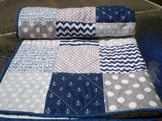 Nautical Baby quilt,navy,grey,chevron,Patchwork crib quilt ,baby girl or boy bedding,anchors,quilt,modern,baby blanket,toddler, All Nautical