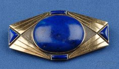 Art Moderne 18kt Gold, Silver, and Lapis Brooch, France, centering a cabochon, lg. 2 1/8 in., no. 602, partial maker's mark and guarantee st...